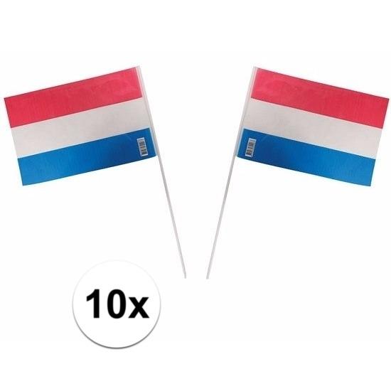 Zwaaivlaggetjes Nederlandse vlag 10 stuks
