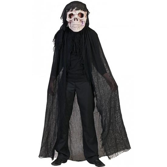 Zwart doodshoofd spook kostuum voor volwassenen. doodshoofd masker met een voddencape in het zwart. er zit in ...