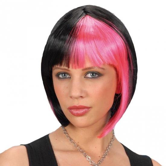 Image of Zwart roze gothic boblijn pruiken