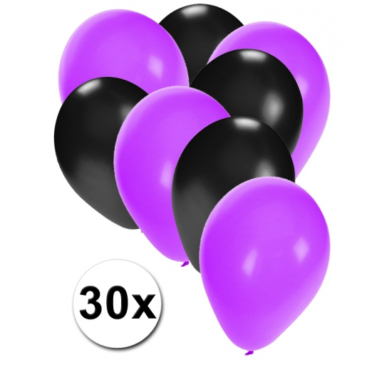 Image of Zwarte en paarse ballonnetjes 30 stuks