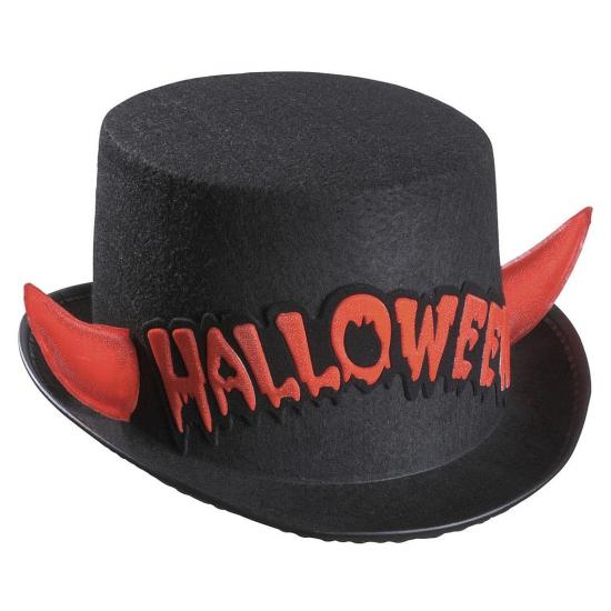 Image of Zwarte hoge hoed Halloween met rode duivel hoorns