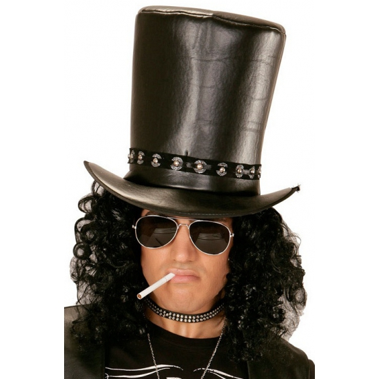 Image of Zwarte hoge hoed met studs