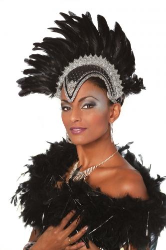 Image of Zwarte hoofdtooi met veren