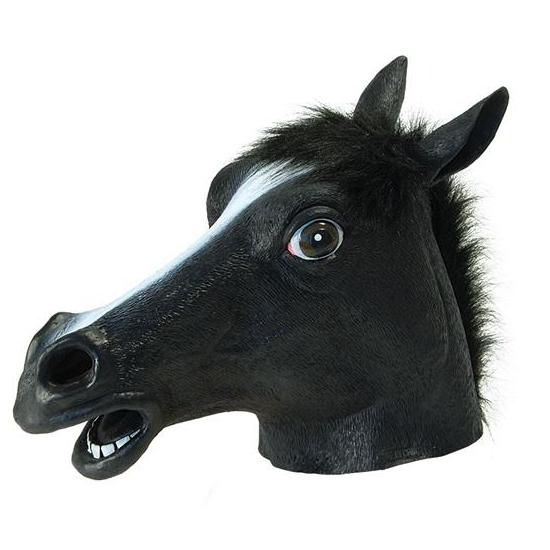 Image of Zwarte paarden kop masker voor volwassenen