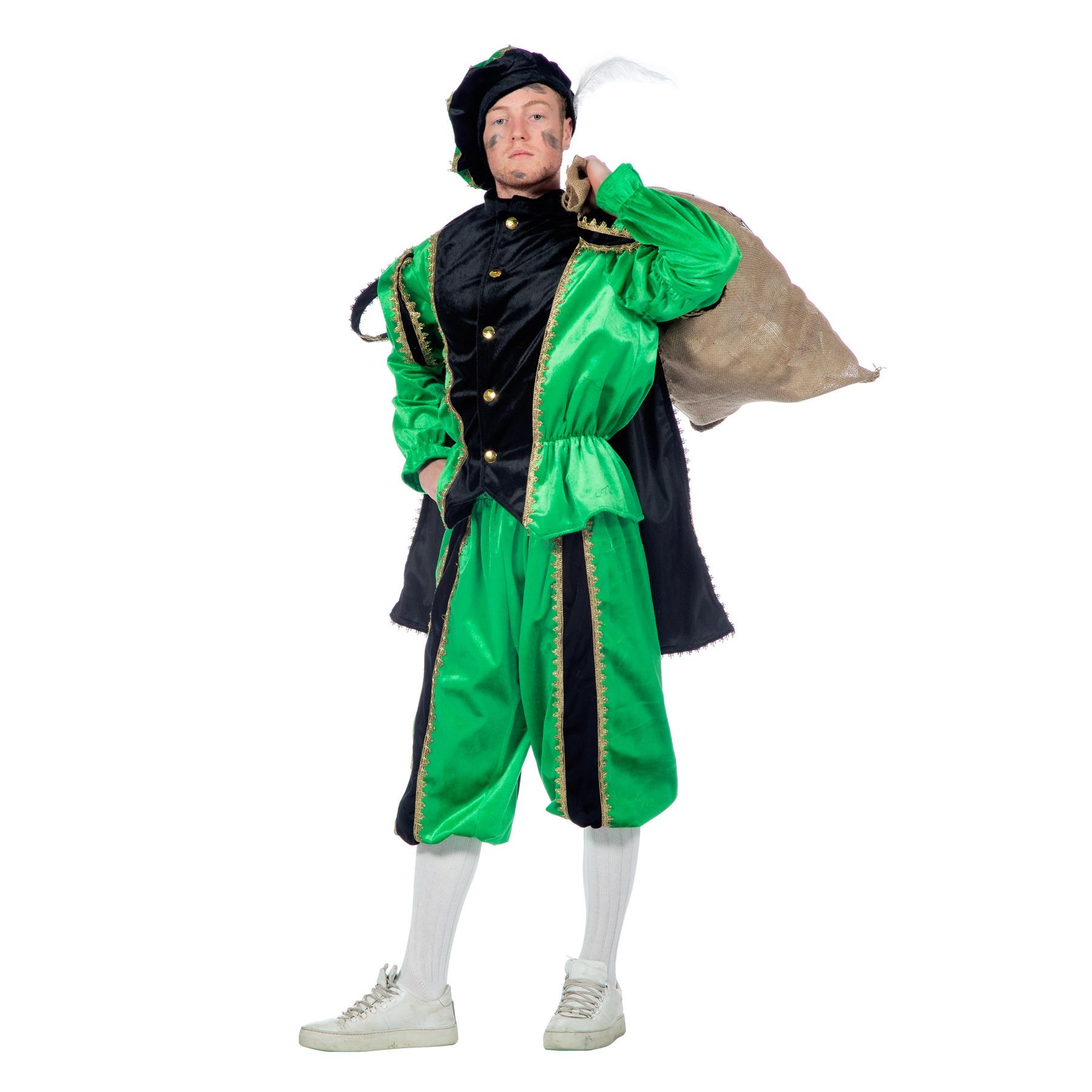 Image of Zwarte Pieten kostuum zwart/groen