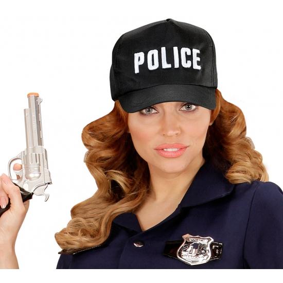 Image of Zwarte politie pet voor volwassenen