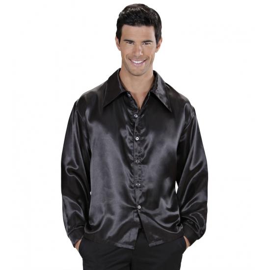 Image of Zwarte satijnen blouse
