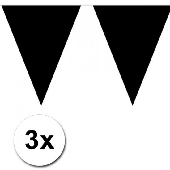 Image of Zwarte versiering vlaggenlijnen 3 stuks