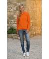 Oranje dames sweater met polo kraag