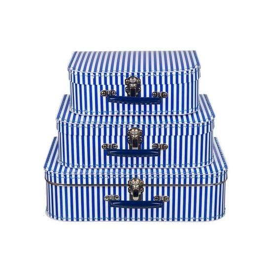 Babykamer koffertje blauw met witte strepen 35 cm