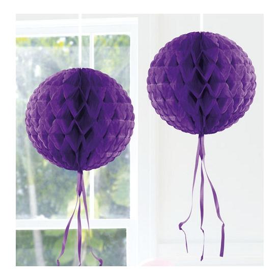 Hangdecoratie paarse bol 30 cm