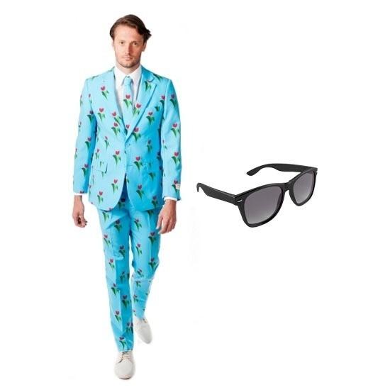 6182700e4b6 Heren kostuum met tulpen print maat 50 (L) met gratis zonnebril in ...