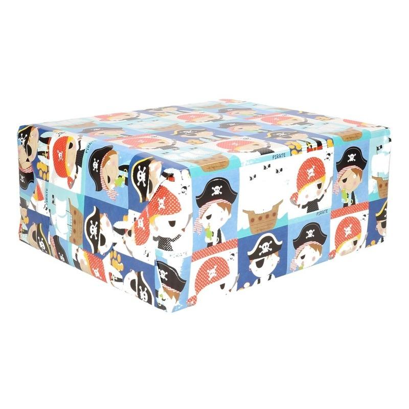 Inpakpapier Kinder Verjaardag Met Piraten 200 X 70 Cm In Oranje