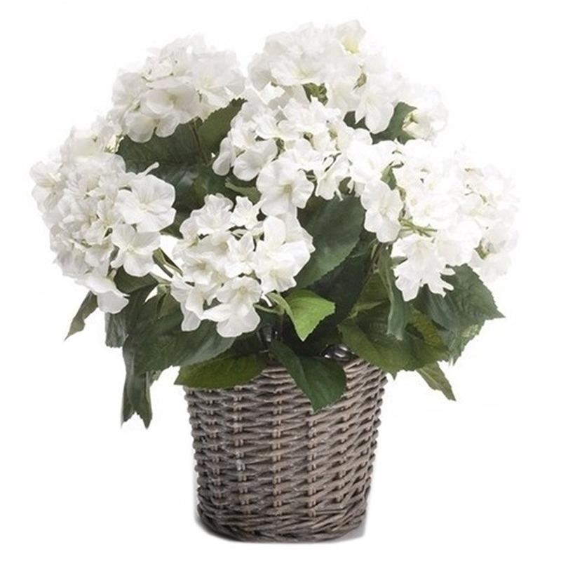 Kantoor decoratie Hortensia wit 45 cm