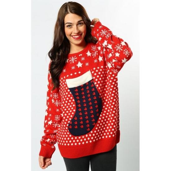 Kerst kado rode kersttrui voor dames