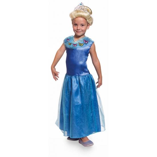 Lange blauwe prinsessen jurk voor meisjes