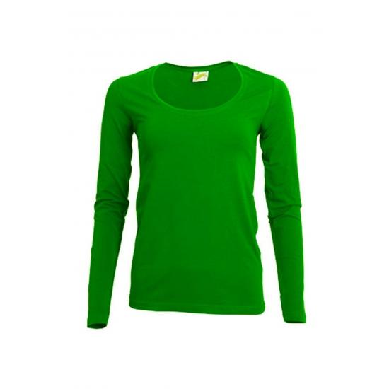 300a16859ae Lime gekleurd dames shirt met lange mouwen in oranje artikelen ...