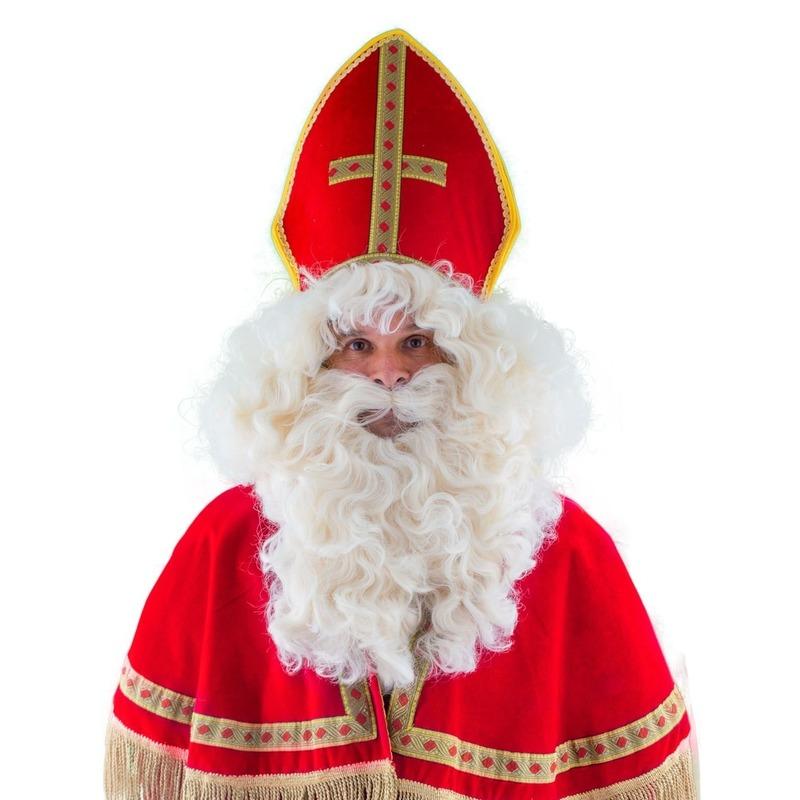 Luxe Sinterklaas pruik met baard en snor