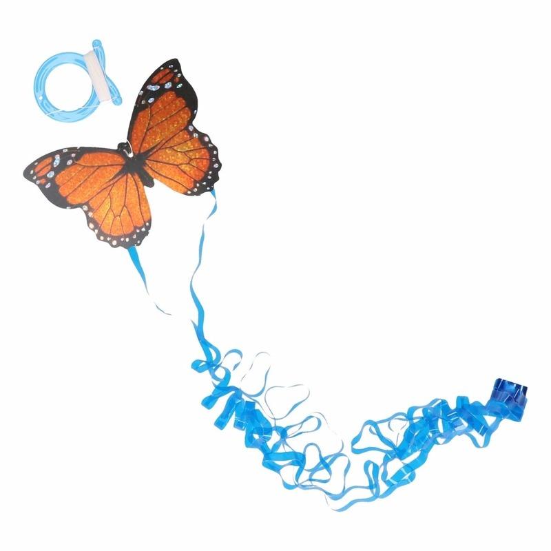 Mini oranje vlinder vlieger 10 x 7 cm
