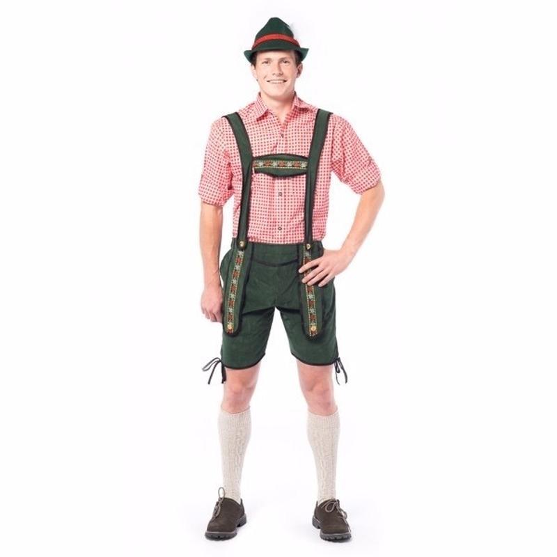 Oktoberfest - Voordelige groene korte lederhose voor heren