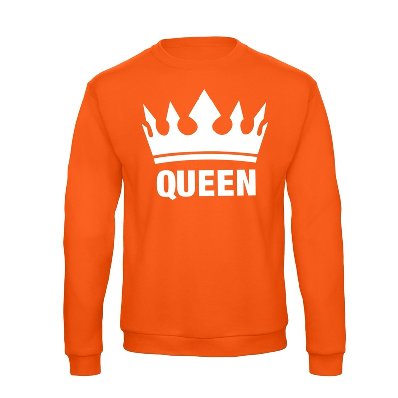 Oranje Koningsdag Queen sweater dames