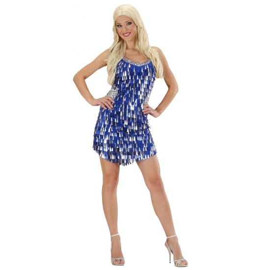 glitter jurk blauw