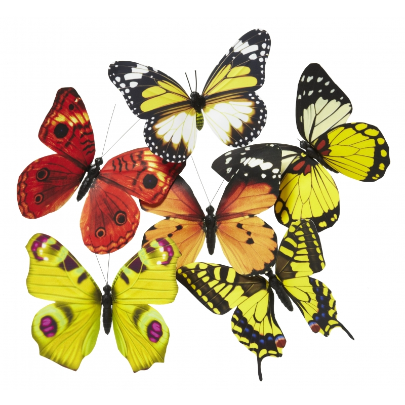 Papier vlinder magneet geel/oranje 13.5 cm
