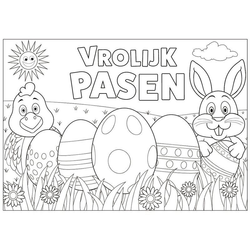 12 Pasen Kleurplaten Placemats Pakket Met Stiften En Potloden In