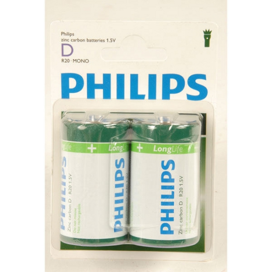 Phillips LL batterijen R20 1,5 volt 2 stuks