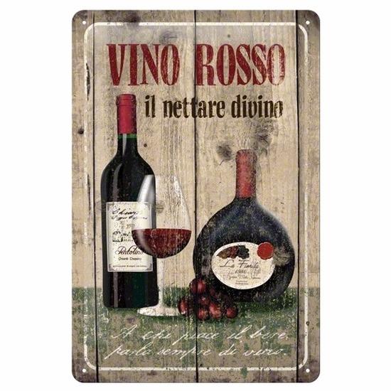 Restaurant decoratie Muurdecoratie Vino Rosso 20 x 30 cm