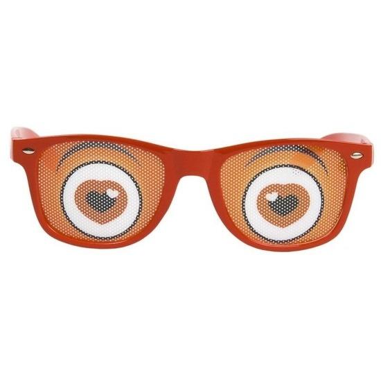 867be33a2fbc3c Rode bril met hartjes ogen in oranje artikelen winkel Oranjeshopper