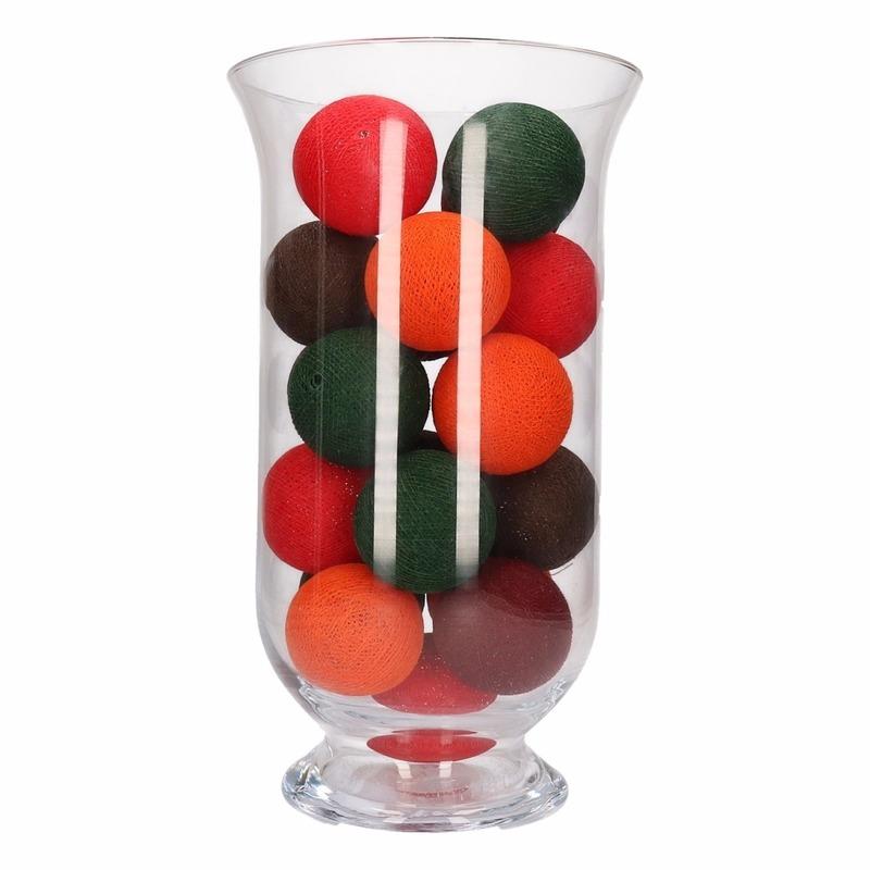 cotton balls in herfst kleuren inclusief vaas
