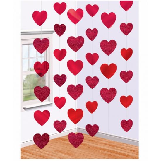 Valentijn slinger met rode hartjes