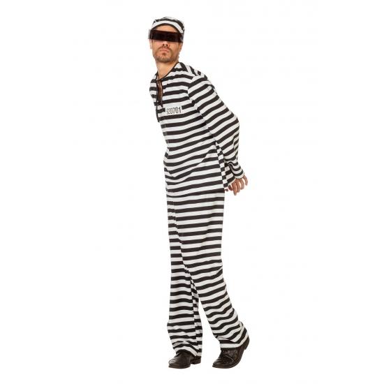 Verkleed boeven kostuum zwart/wit voor heren