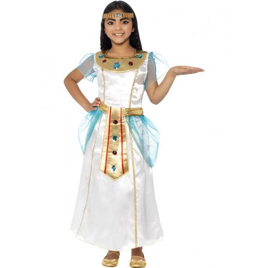 Wit met blauw Egyptisch jurkje voor meisjes