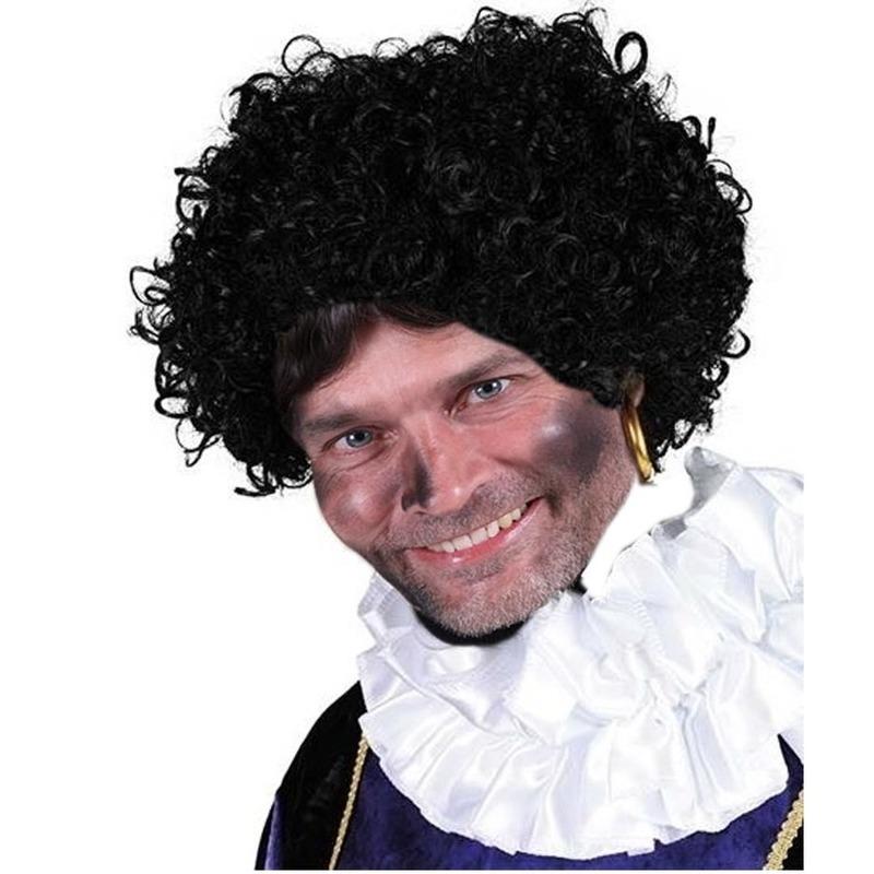 Zwarte Piet krulletjes pruik deluxe