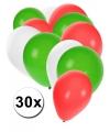 30x Rood wit groen pakketje ballonnen