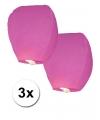 3x roze wensballon