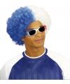 Wit/blauwe krulletjes pruik