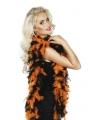Boa met veren oranje/zwart 180 cm