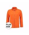 Grote maat Fleece sweatshirt oranje met rits voor volwassenen