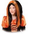 Heksenpruiken voor kinderen zwart/oranje