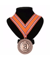 Medaille aan halslint oranje/rood/wit/blauw