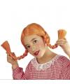 Pruik met twee oranje vlechten