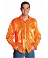 Glimmende oranje blouse met rouches