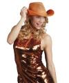 Supporter cowboyhoed oranje met gaas