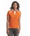 Oranje/wit poloshirt voor dames