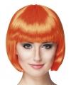 Oranje feestpruik boblijn dames