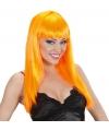 Feest pruik met oranje stijl haar