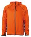 Oranje fleece vest voor heren met capuchon